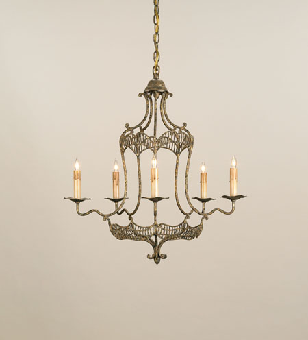 Currey & Company Charisse 5 Light Chandelier in Old Gold Leaf 9956 photo
