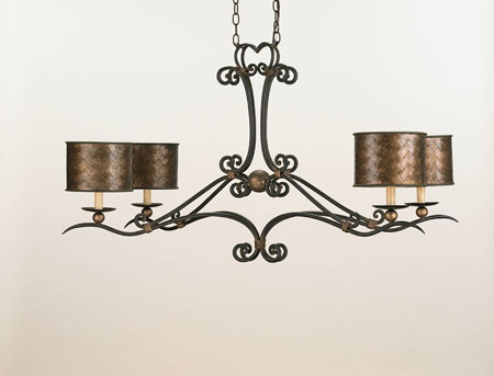 Currey & Company Veneta 4 Light Chandelier in Old Iron/ Cupertino 9965 photo