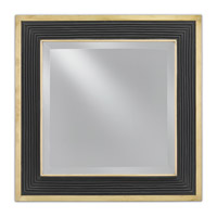 Loren 24 X 24 inch Polished Brass/Caviar Black Mirror Home Decor, Square