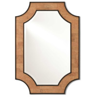 Reina 46 X 32 inch Natural Cork and Dark Walnut with Mirror Wall Mirror, Large