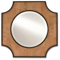 Reina 28 X 28 inch Natural Cork and Dark Walnut with Mirror Wall Mirror, Small