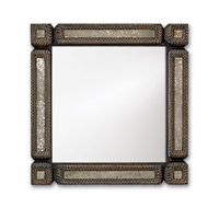 Currey & Company Tramp Art Mirror in Blackened Tramp/Antique Mirror 1053