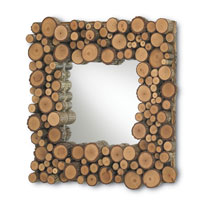 Currey & Company Elkmont Square Mirror in Natural Hickory 1086