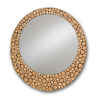 Currey & Company Elkmont Round Mirror in Natural Hickory 1087