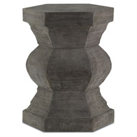 Pagoda Brushed Gray Stool Home Decor, Hexagonal
