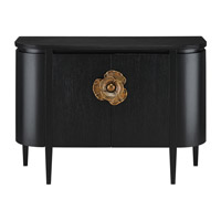 Currey & Company 3000-0004 Briallen Caviar Black / Solid Antique Brass Cabinet