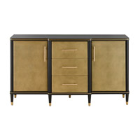 La Cour Caviar Black / Faux Ivory Shagreen / Brushed Brass Credenza