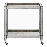 Currey & Company Monarch Bar Cart in Painted Silver Viejo / Light Antique Mirror 3000-0009