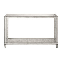 Currey & Company Monarch Console Table in Painted Silver Viejo / Light Antique Mirror 3000-0010
