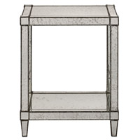 Currey & Company Monarch Accent Table in Painted Silver Viejo / Light Antique Mirror 3000-0014