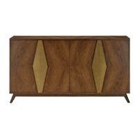 Currey & Company 3000-0052 Arren 63 inch Dark Chestnut and Antique Brass Credenza