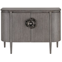 Currey & Company 3000-0080 Briallen Winter Gray and Antique Silver Cabinet, Demi-Lune