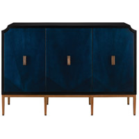Currey & Company 3000-0082 Kallista Dark Sapphire and Caviar Black and Antique Brass Cabinet