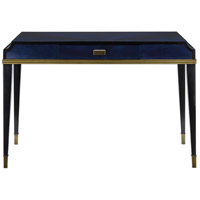 Currey & Company 3000-0123 Kallista 47 inch Dark Sapphire and Caviar Black with Antique Brass Writing Desk