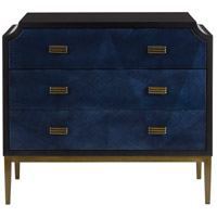 Currey & Company 3000-0124 Kallista Dark Sapphire and Caviar Black with Antique Brass Chest