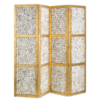 Currey & Company Margate Folding Screen in Granello Gold Leaf and Natural 3219