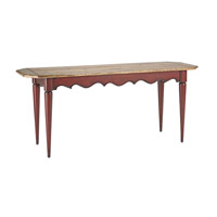 Currey & Company Fischer Console Table in Barn Red and Knotty Pine Veneer 3223