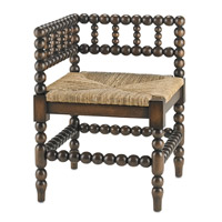 Currey & Company Camden Corner Chair in Walnut and Natural 3225