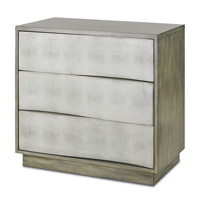 Currey & Company Wave Chest in Oyster and Antique Brass 3238
