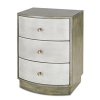 Currey & Company Finn Night Stand in Oyster and Antique Brass 3242