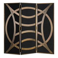 Clara Natural Black Linen and Brass Folding Screen