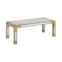 Currey & Company Leighton Cocktail Table in Textured Walnut and Brass 3253
