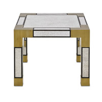 Currey & Company Leighton Bunching Table in Textured Walnut and Brass 3254