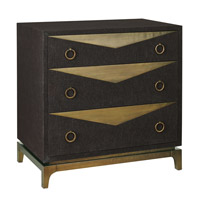 Cadena Natural Linen Black and Bronze Three Drawer Chest