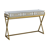 Regency 54 inch Contemporary Gold and Matte White Console Table Home Decor