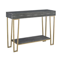 Marlowe 48 inch Black Shagreen and Antique Brass Console Table Home Decor