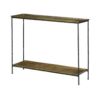 Boyles 42 inch Black Iron and Antique Brass Console Table Home Decor