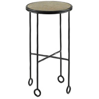 Jorin 14 inch Black and Antique Brass Side Table