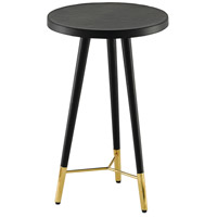 Collin Black Leather and Polished Brass Side Table Home Decor