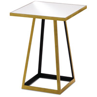 Mondo 18 inch Contemporary Gold Leaf and Satin Black and Mirror Side Table Home Decor