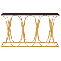 Sabine 56 inch Grecian Gold Leaf and Black Console Table Home Decor