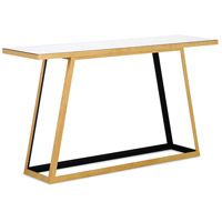Mondo 56 inch Contemporary Gold Leaf and Satin Black and Mirror Console Table Home Decor