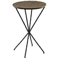 Currey & Company 4000-0059 Figuier 16 inch Patina Brass and Black Drinks Table, The Marjorie Skouras Collection