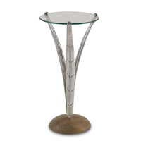 Currey & Company Anna Drinks Table in Nickel and Natural 4157