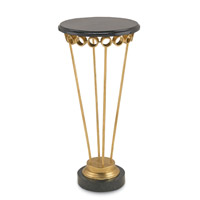Currey & Company Dandy Drinks Table in Contemporary Gold Leaf and Black 4159