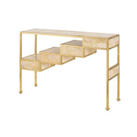 Currey & Company Aficionado Console Table in Contemporary Gold Leaf and Natural 4160
