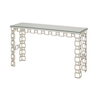 Currey & Company Euclid Table in Contemporary Silver Leaf and Salt Antique Mirror 4164