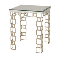 Currey & Company Euclid Console Table in Contemporary Silver Leaf and Salt Antique Mirror 4165