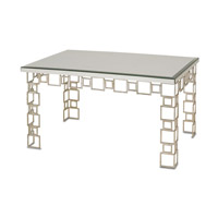 Currey & Company Euclid Coffee Table in Contemporary Silver Leaf and Salt Antique Mirror 4166