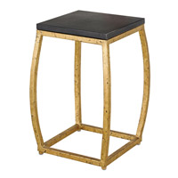 Currey & Company Boxwell Table in Gold Leaf and Black Concrete 4185