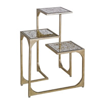 Currey & Company Constance Occasional Table in Silver Leaf and Antique Gold Leaf Mirror 4186