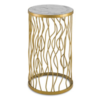 Currey & Company Torrey Accent Table in Contemporary Gold and Natural 4197
