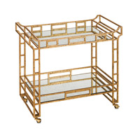 Currey & Company Odeon Bar Cart in Seneca Gold Leaf and Light Roche 4217