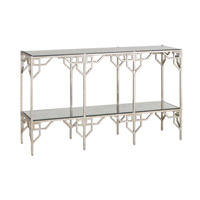 Breslin 53 inch Textured Silver and Light Roche Console Table Home Decor