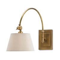 Currey & Company Ashby 1 Light Swing-Arm Sconce in Antique Brass with Eggshell Shantung 5000-0003