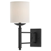 Currey & Company Latchett 1 Light Swing-Arm Sconce in Black Bronze with Off White Linen 5000-0009